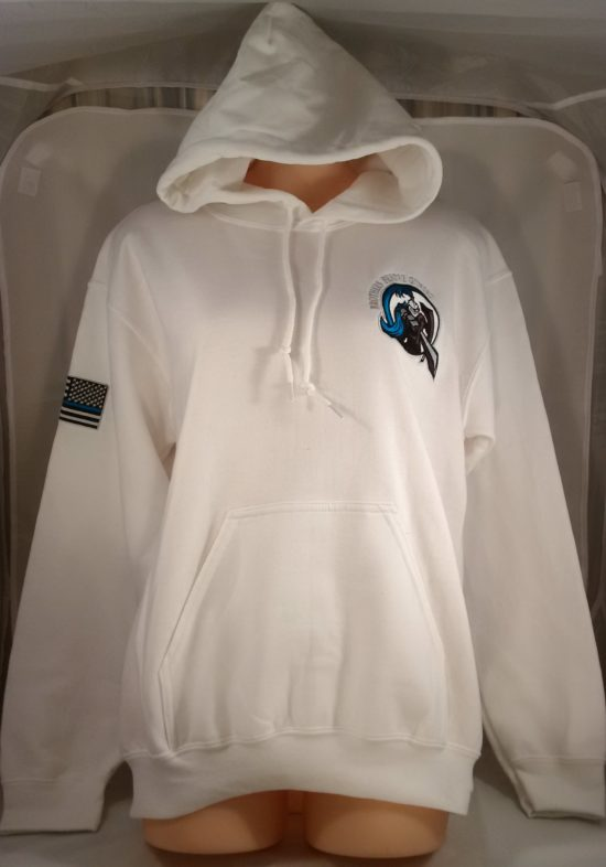 embroidered logo pullover hoodie white