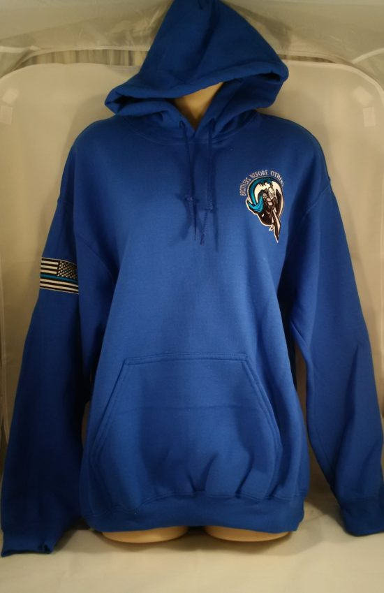 embroidered logo pullover hoodie blue